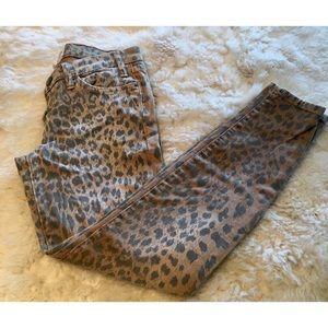 Current Elliott camel leopard stiletto jeans